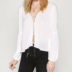 Amuse Society 'Spencer' Lace-Up Festival Boho Top